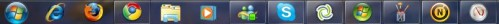 New taskbar in Windows 7: shortcuts and running apps thrown together