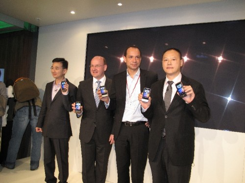 HTC and Vodafone folks showing off the new phones