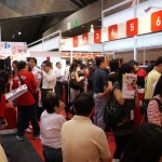 Super-crowded SingTel booth