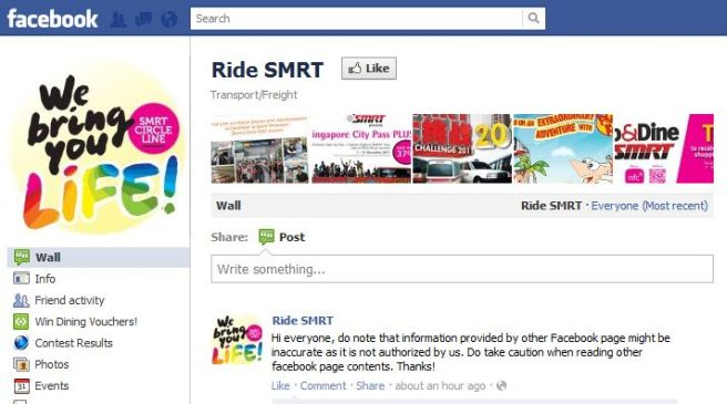 "Singapore Facebook users vent anger on fake SMRT ""feedback"" page"