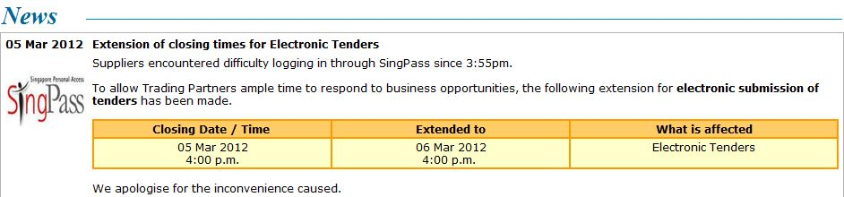 Singapore government tender deadlines extended, after SINGPASS.