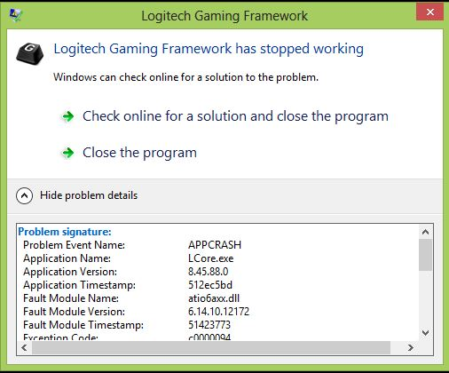 Logitech Gaming Software crash