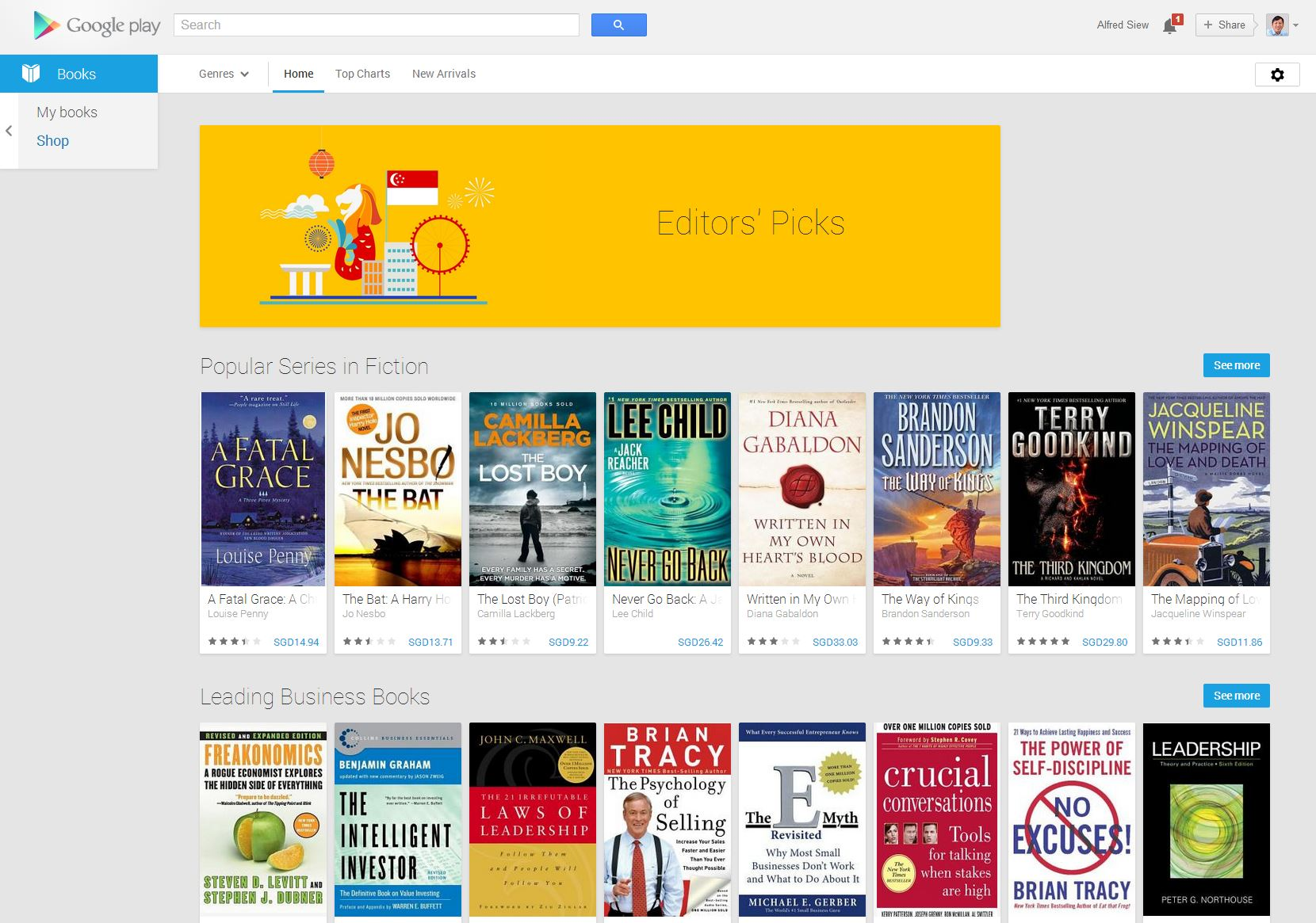 Books on Google Play now in Singapore, while other e-bookstores close
