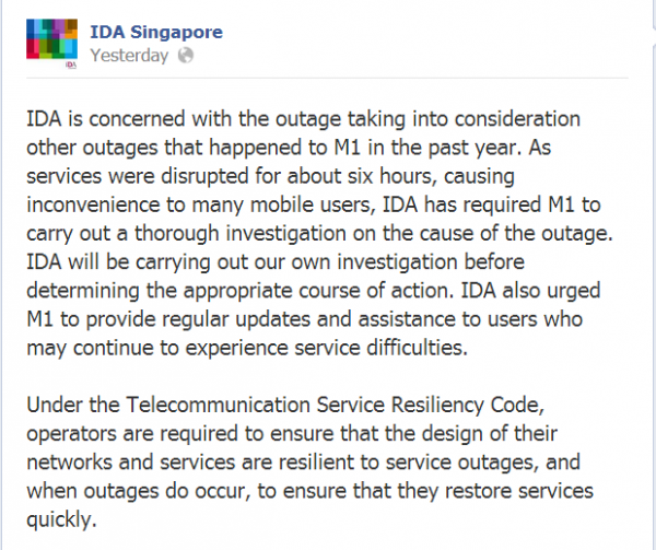 IDA to investigate M1 outage