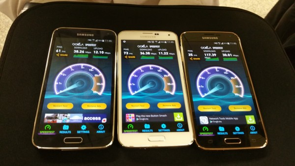 From left: StarHub, M1 and Singtel 4G speeds.