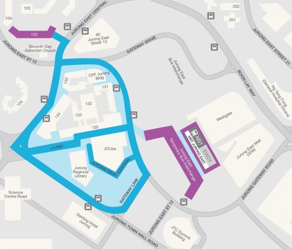 •Coloured areas indicate trial mobility coverage area • Blue areas indicate available outdoor coverage • Purple areas indicate available indoor coverage • Coverage for the Jurong East MRT Station and Bus Interchange is scheduled to be available in November 2015