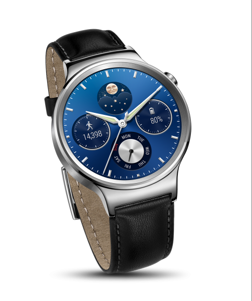 Huawei Watch Silver - Black Leather Strap_004