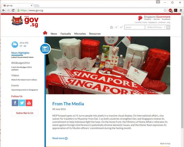 Screenshot of a Singapore government website.