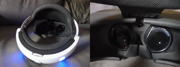 Looks like Wall-E's eyes! The inside of the PS VR headset is padded for comfort.
