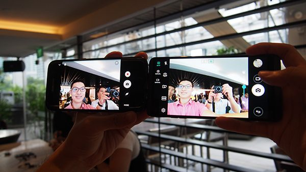 A comparison between the standard front camera on the Samsung Galaxy S7 Edge on the left, and the wide angled one on the V20 on the right. Notice how the V20 managed to include the two guys standing beside us in its shot. PHOTO: Alfred Siew
