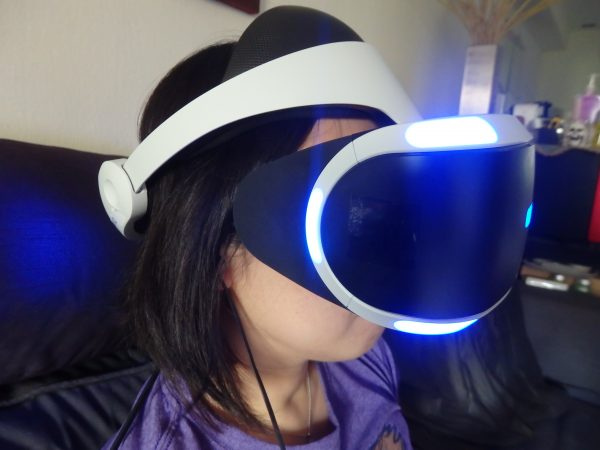 The PS VR headset can be adjusted to fit most heads.