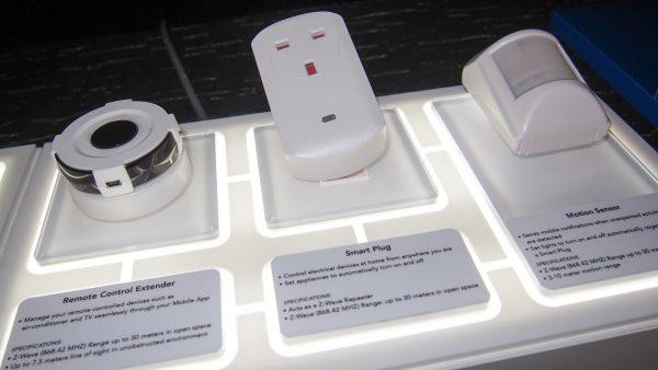 (L-R) Remote Control Extender, Smart Plug and Infrared Motion Sensor. PHOTO: Desmond Koh