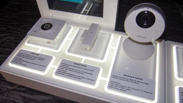 (L-R) Smart Hub, Contact Sensor, Full HD Wi-Fi Smart Camera. PHOTO: Desmond Koh