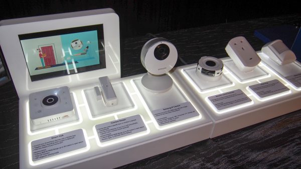 The range of sensors and cameras available for use with Singtel SmartHome. PHOTO: Desmond Koh