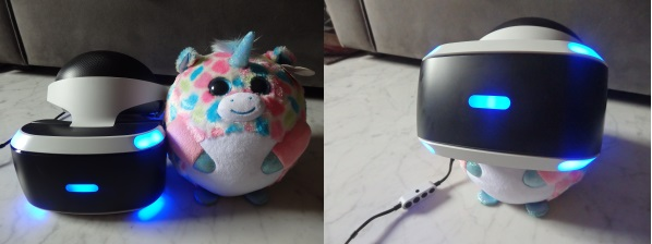 The PS VR headset measures about 187×185×277 mm, about the size of a small plush toy.