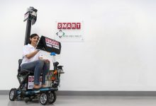 Singapore-based researchers show off self-driving scooter that could help collect trays